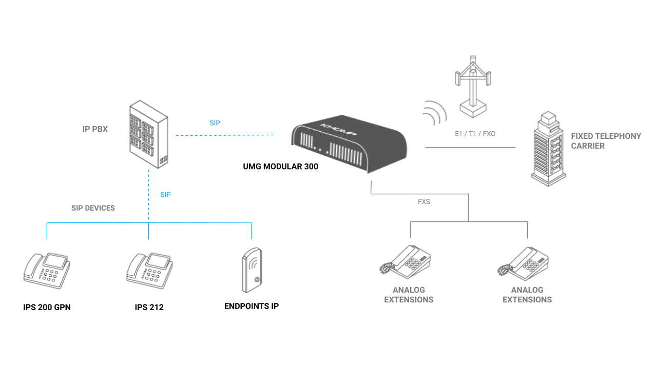 UMG Modular 300 - Integration with IP PBX and VoIP Carrier