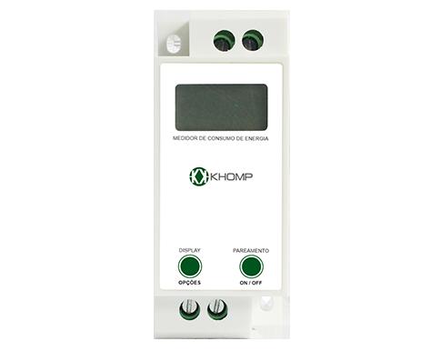 Vista Frontal - Medidor y actuador de energía por cuadro eléctrico IoT Khomp